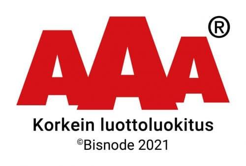 Korkein luottoluokitus AAA Bisnode 2021